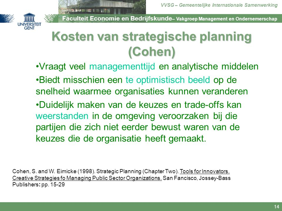 Kosten van strategische planning (Cohen)
