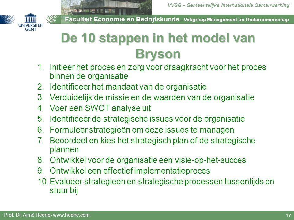 De 10 stappen in het model van Bryson