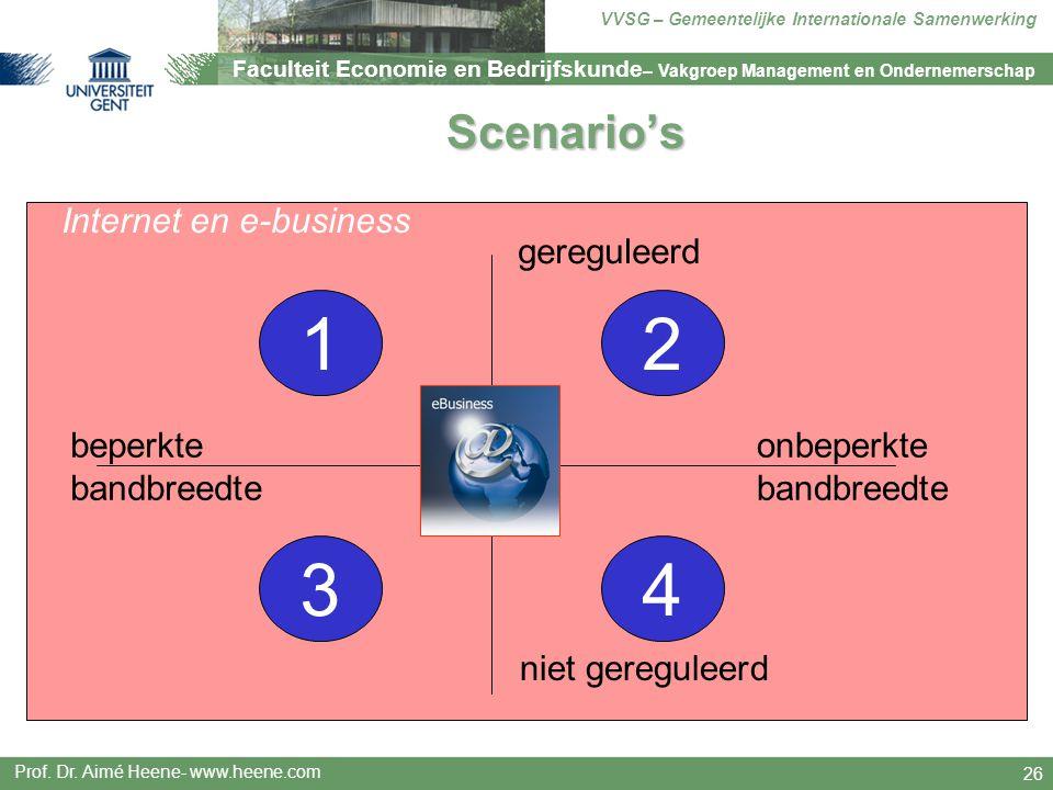 1 2 3 4 Scenario's Internet en e-business gereguleerd beperkte