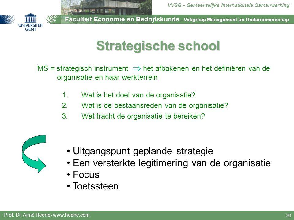 Strategische school Uitgangspunt geplande strategie