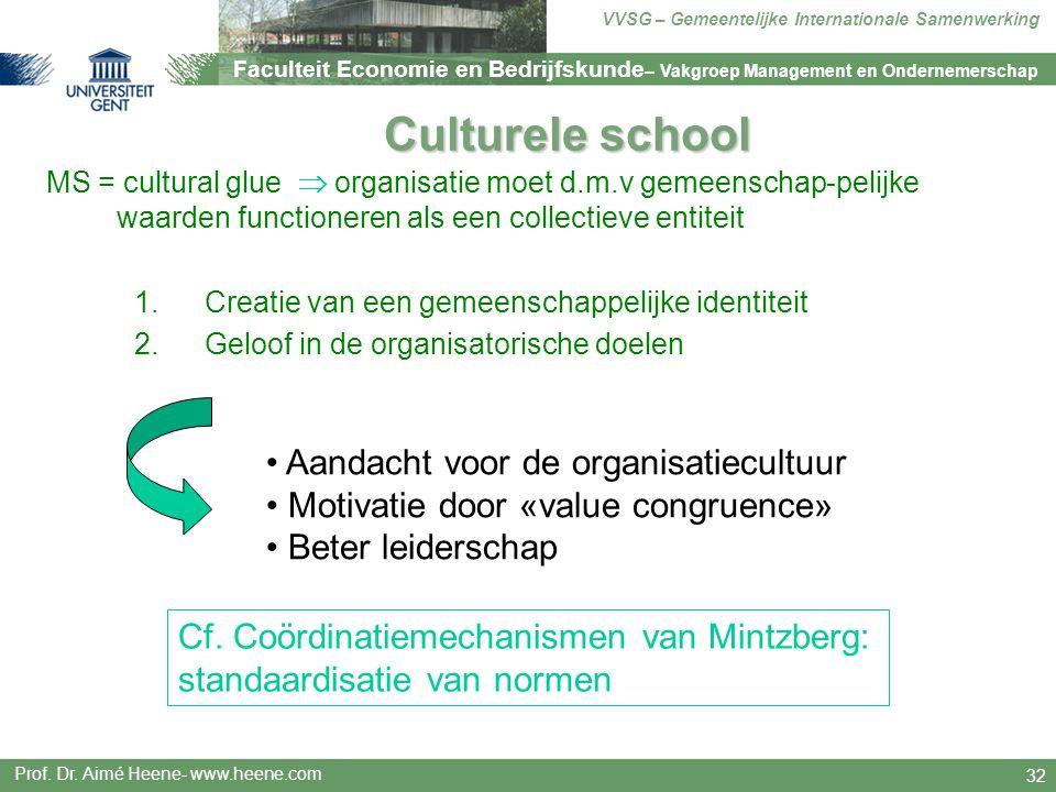 Culturele school Aandacht voor de organisatiecultuur