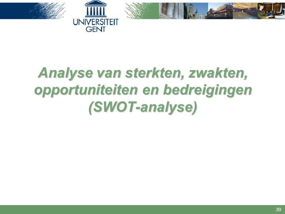 Analyse van sterkten, zwakten, opportuniteiten en bedreigingen (SWOT-analyse)