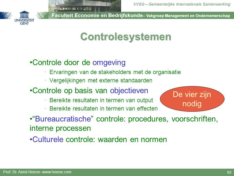 Controlesystemen Controle door de omgeving