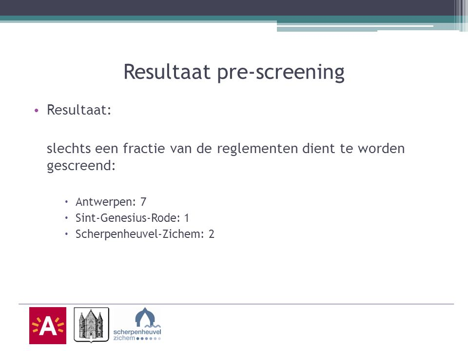 Resultaat pre-screening