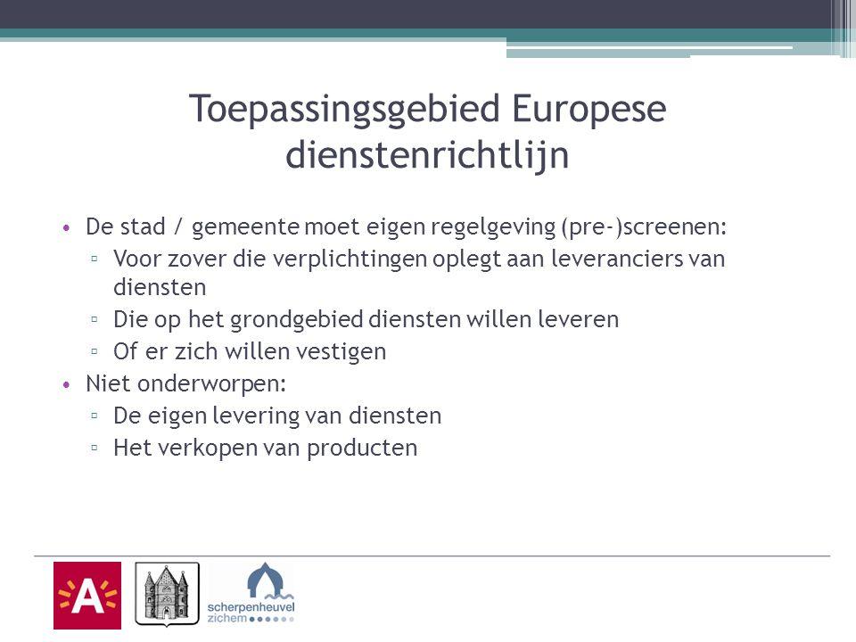 Toepassingsgebied Europese dienstenrichtlijn