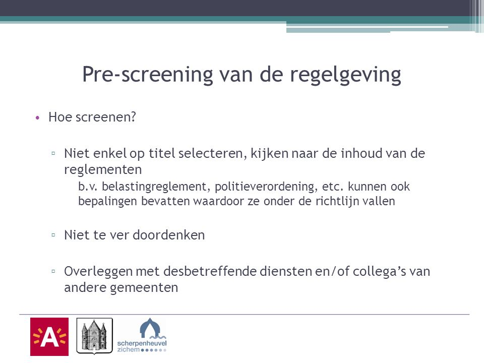 Pre-screening van de regelgeving