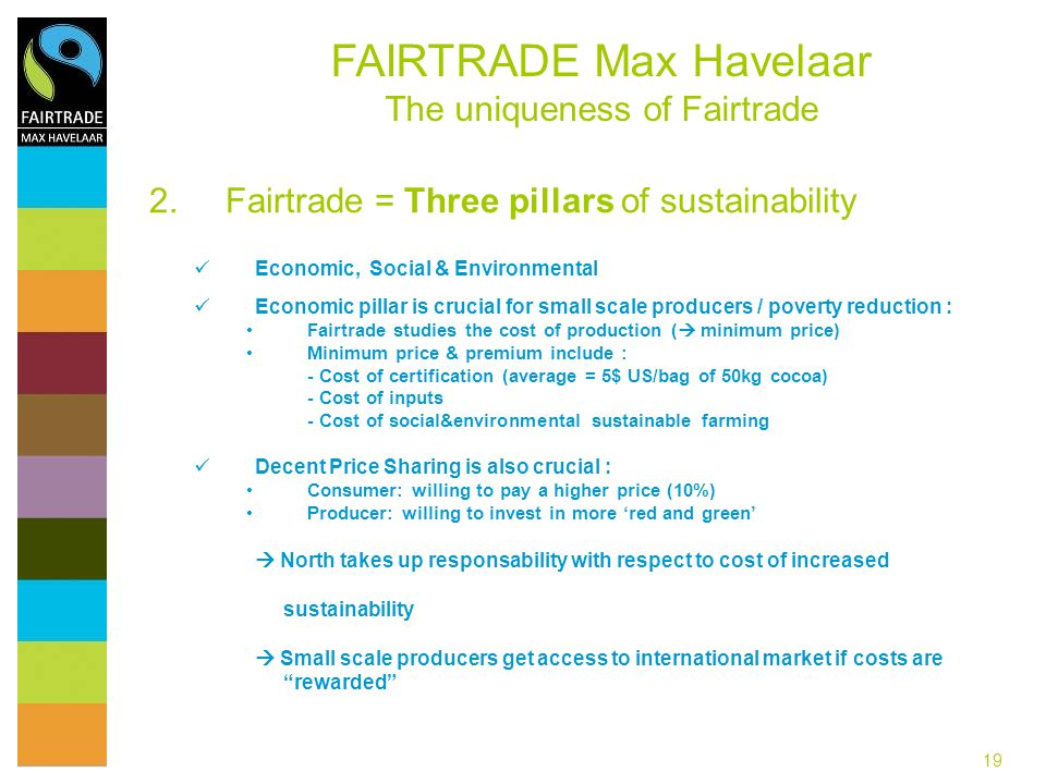 Fairtrade = Three pillars of sustainability