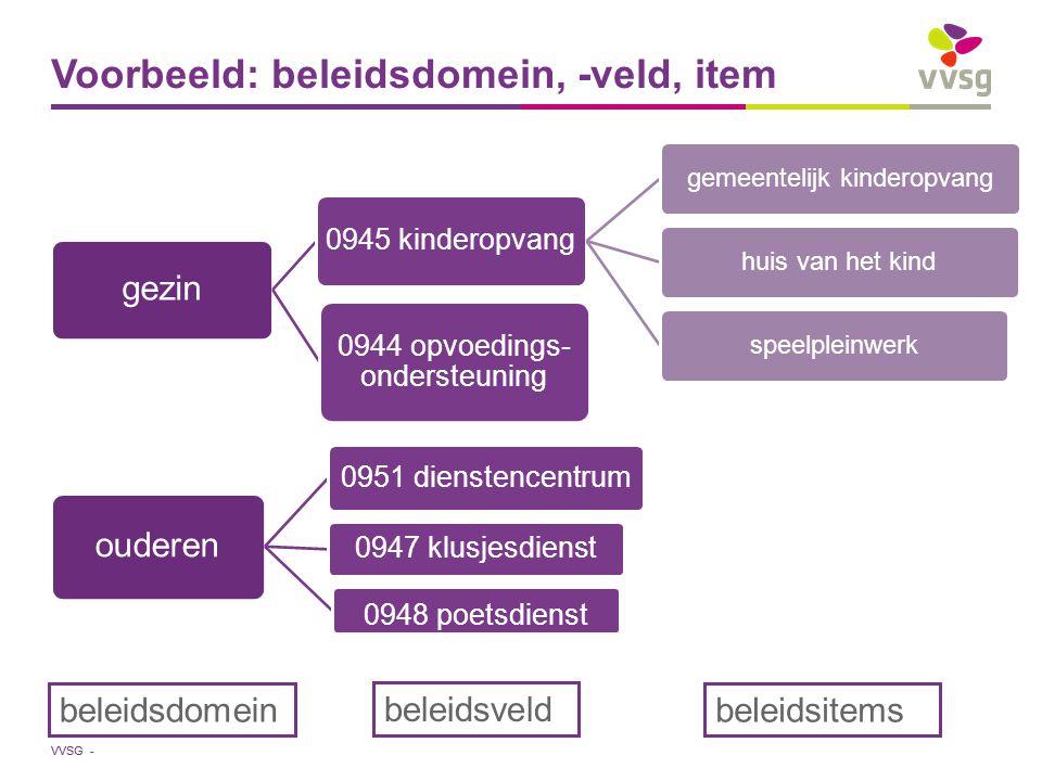 Voorbeeld: beleidsdomein, -veld, item
