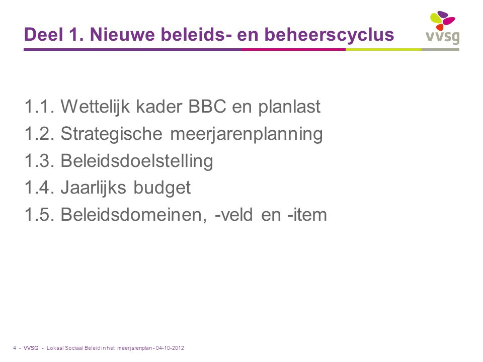 Deel 1. Nieuwe beleids- en beheerscyclus
