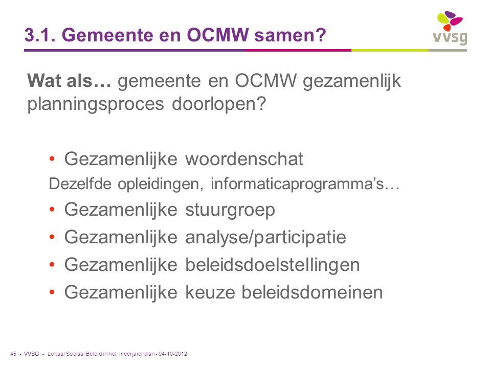 Wat als… gemeente en OCMW gezamenlijk planningsproces doorlopen