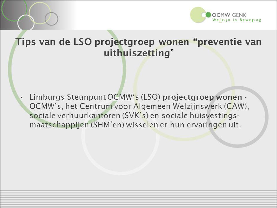 Tips van de LSO projectgroep wonen preventie van uithuiszetting