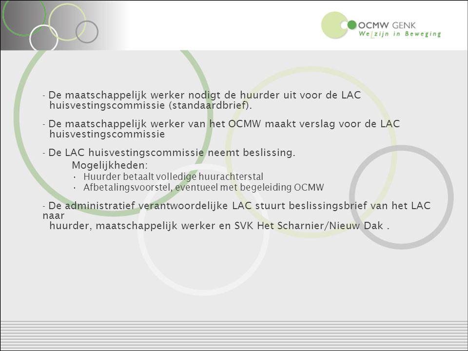 - De maatschappelijk werker nodigt de huurder uit voor de LAC huisvestingscommissie (standaardbrief).