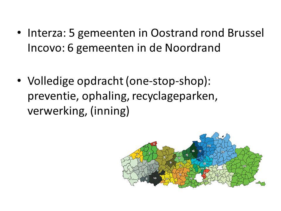 Interza: 5 gemeenten in Oostrand rond Brussel Incovo: 6 gemeenten in de Noordrand