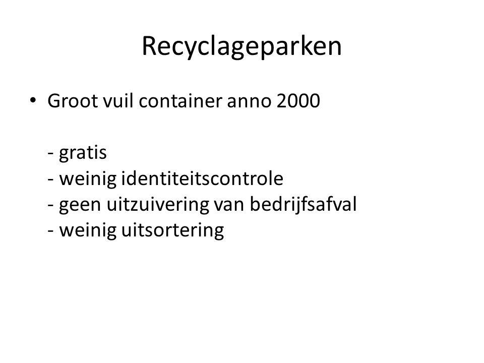 Recyclageparken Groot vuil container anno 2000 - gratis - weinig identiteitscontrole - geen uitzuivering van bedrijfsafval - weinig uitsortering.