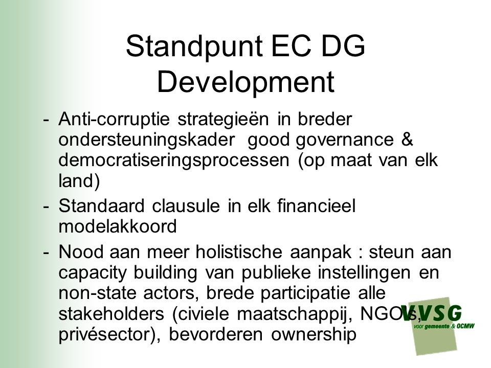 Standpunt EC DG Development