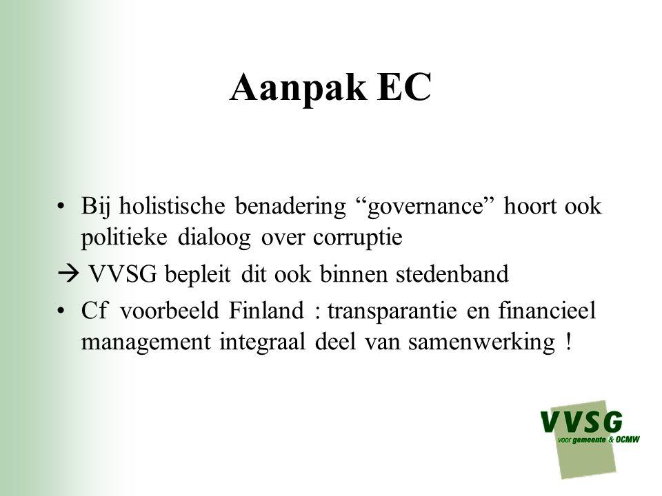 Aanpak EC Bij holistische benadering governance hoort ook politieke dialoog over corruptie.  VVSG bepleit dit ook binnen stedenband.