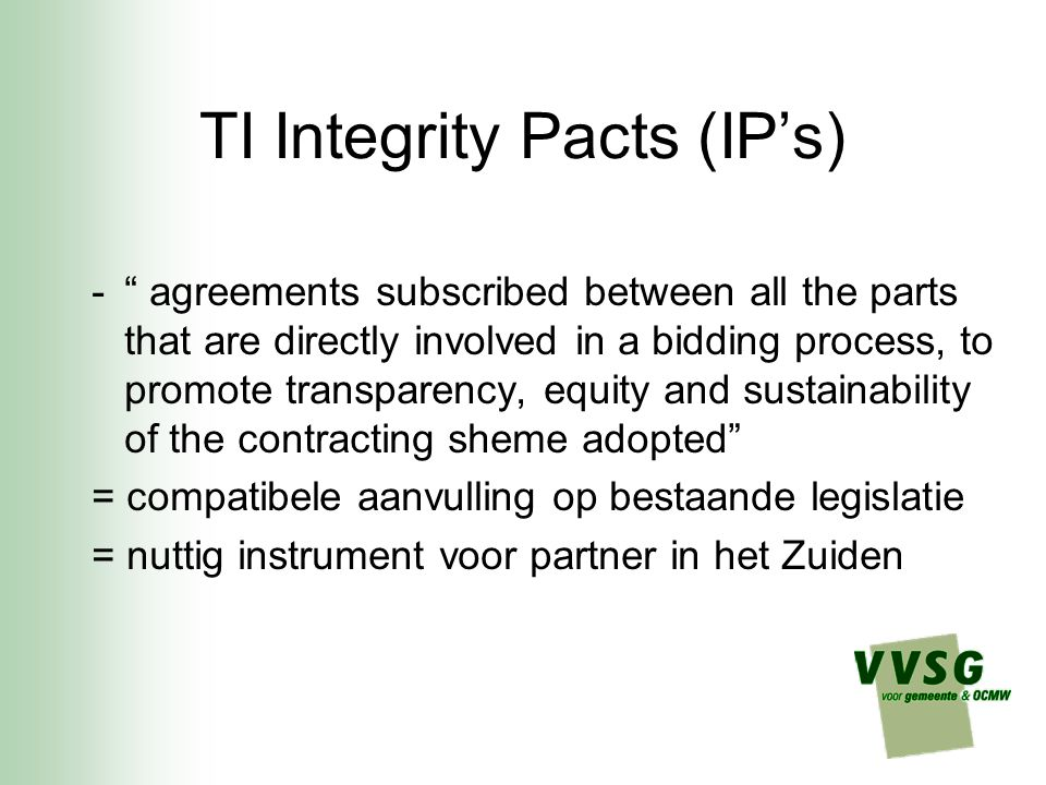 TI Integrity Pacts (IP's)