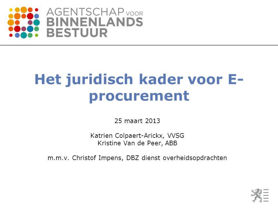 Het juridisch kader voor E-procurement