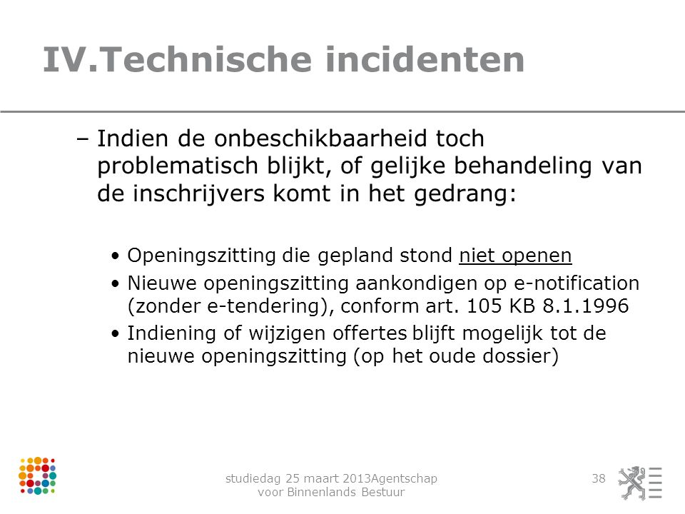 IV.Technische incidenten
