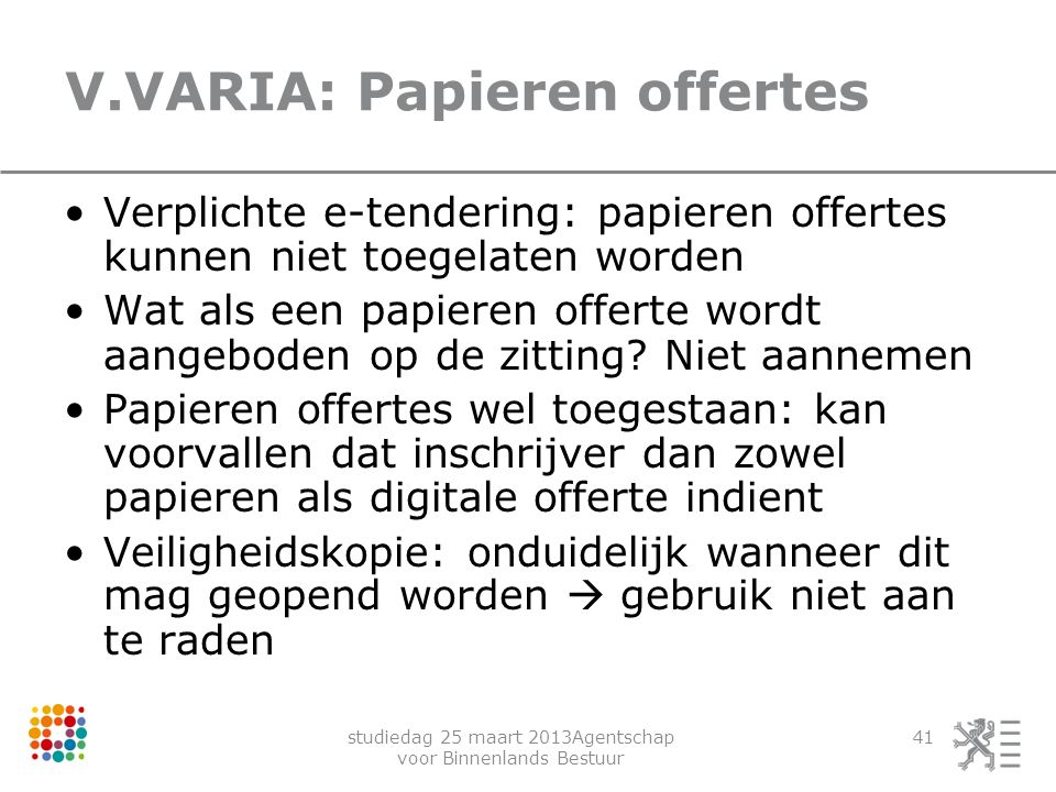 V.VARIA: Papieren offertes