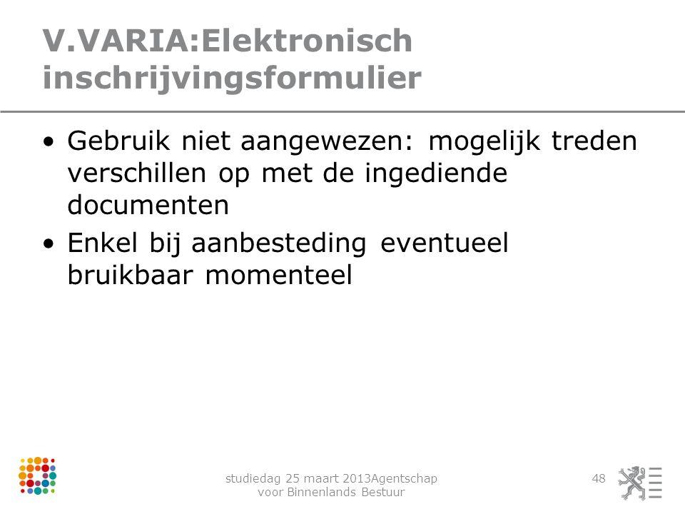 V.VARIA:Elektronisch inschrijvingsformulier