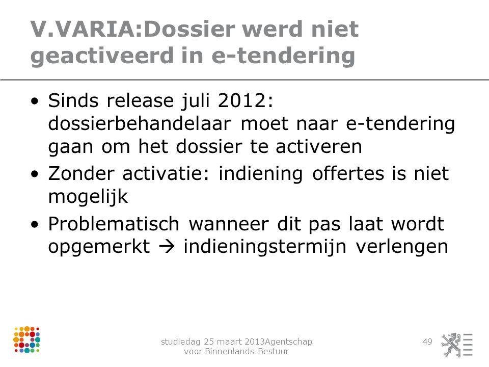 V.VARIA:Dossier werd niet geactiveerd in e-tendering