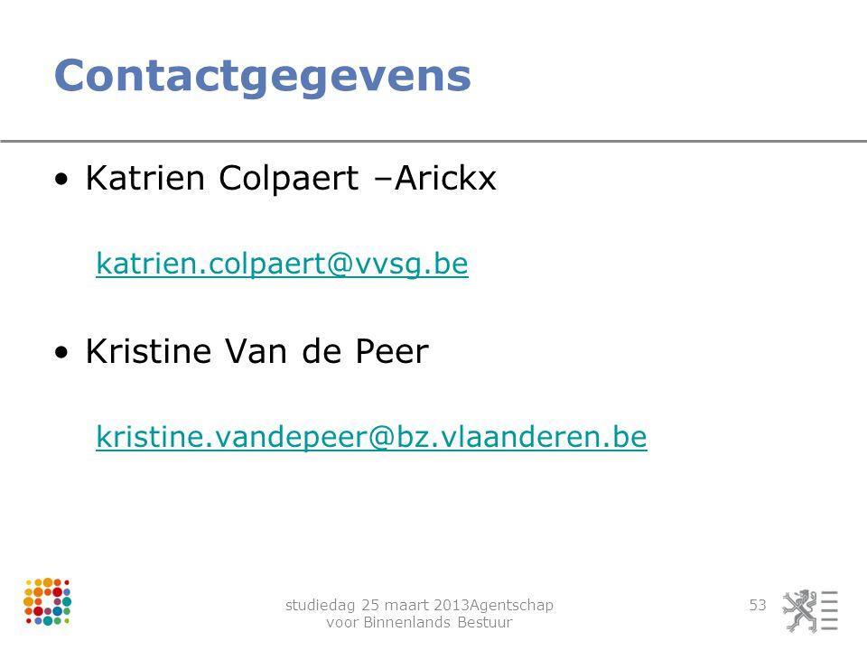 studiedag 25 maart 2013Agentschap voor Binnenlands Bestuur