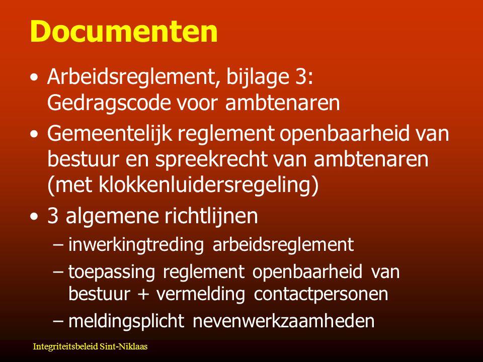 Documenten Arbeidsreglement, bijlage 3: Gedragscode voor ambtenaren