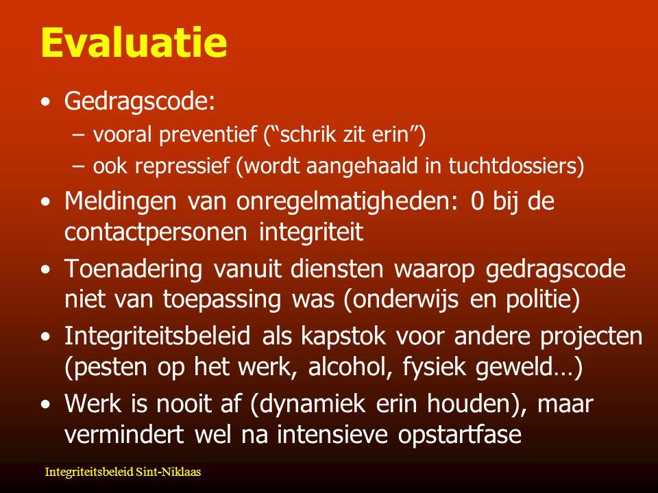 Evaluatie Gedragscode: