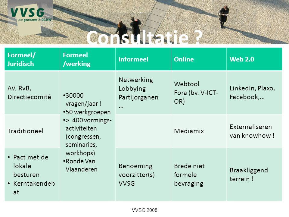 Consultatie Formeel/ Juridisch Formeel /werking Informeel Online