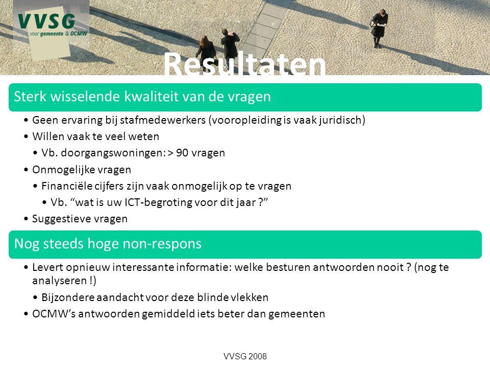 Resultaten VVSG 2008 Sterk wisselende kwaliteit van de vragen