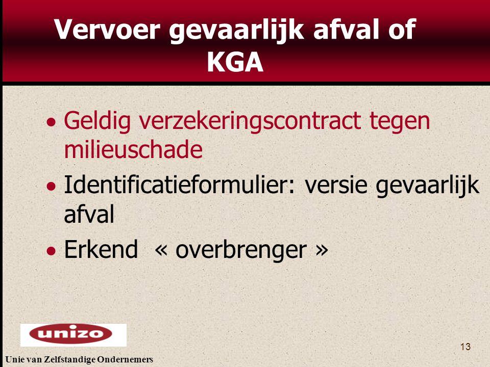 Vervoer gevaarlijk afval of KGA