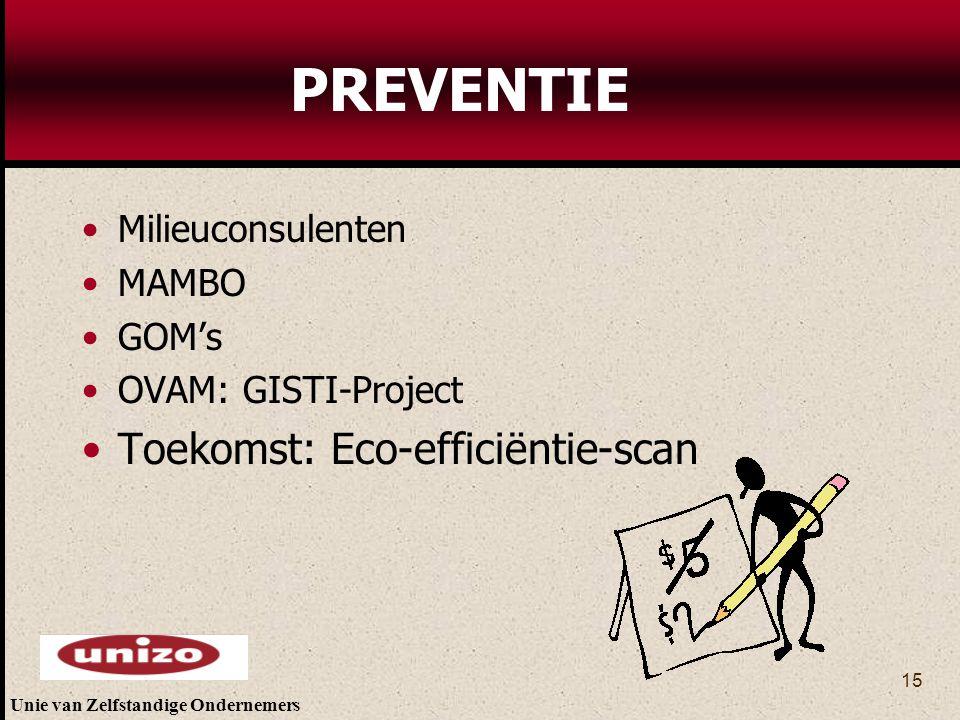 PREVENTIE Toekomst: Eco-efficiëntie-scan Milieuconsulenten MAMBO GOM's