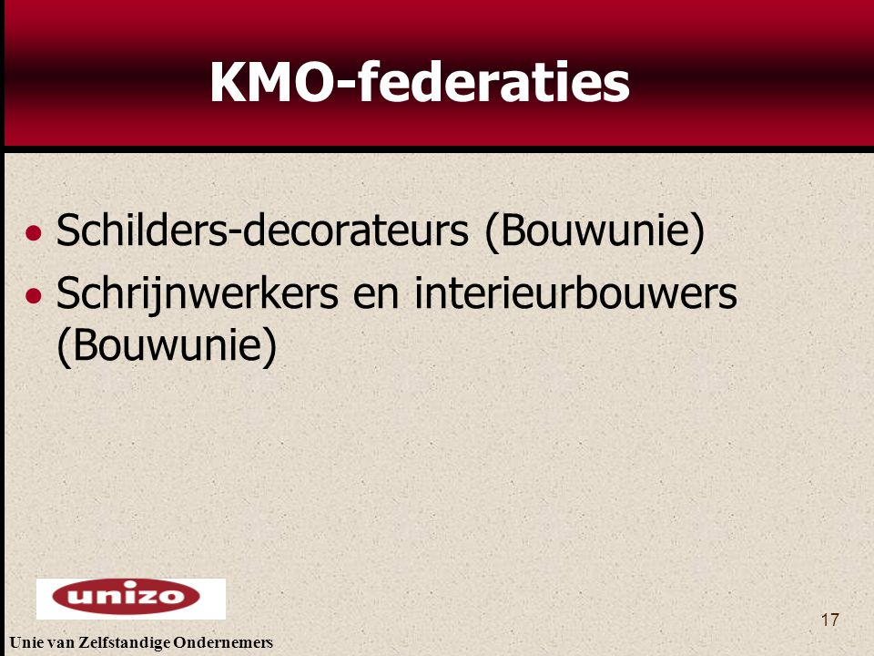 KMO-federaties Schilders-decorateurs (Bouwunie)