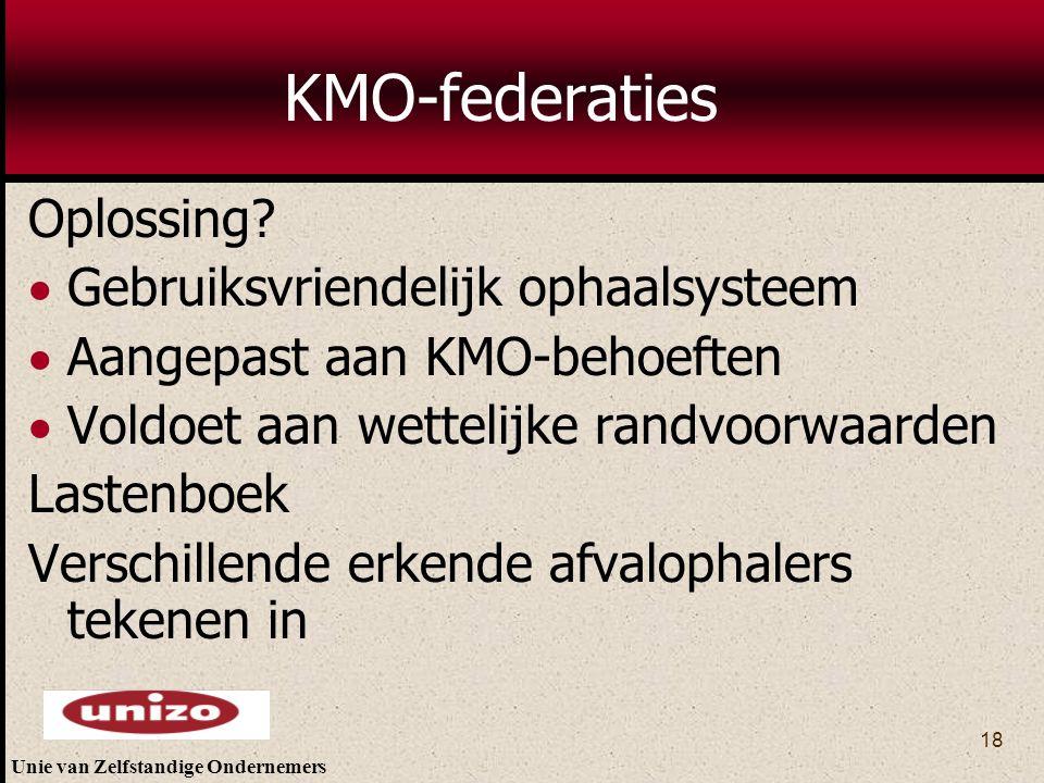 KMO-federaties Oplossing Gebruiksvriendelijk ophaalsysteem