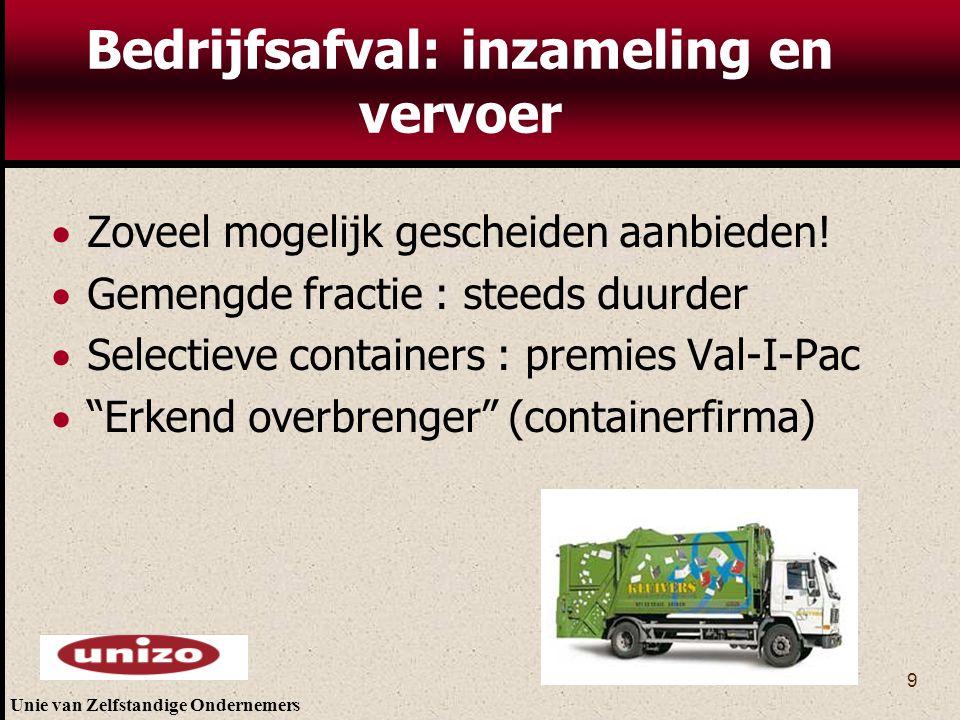 Bedrijfsafval: inzameling en vervoer
