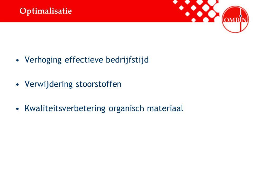 Optimalisatie Verhoging effectieve bedrijfstijd. Verwijdering stoorstoffen.