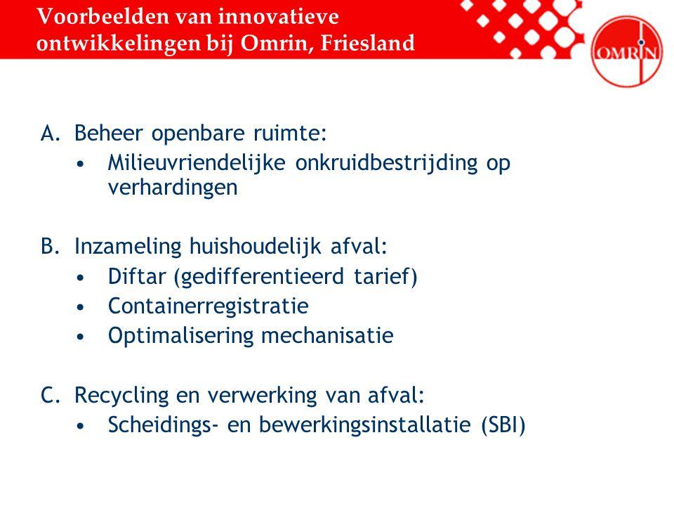 Voorbeelden van innovatieve ontwikkelingen bij Omrin, Friesland