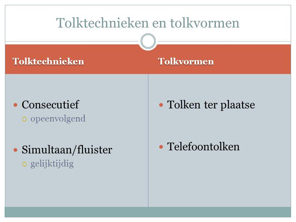Tolktechnieken en tolkvormen