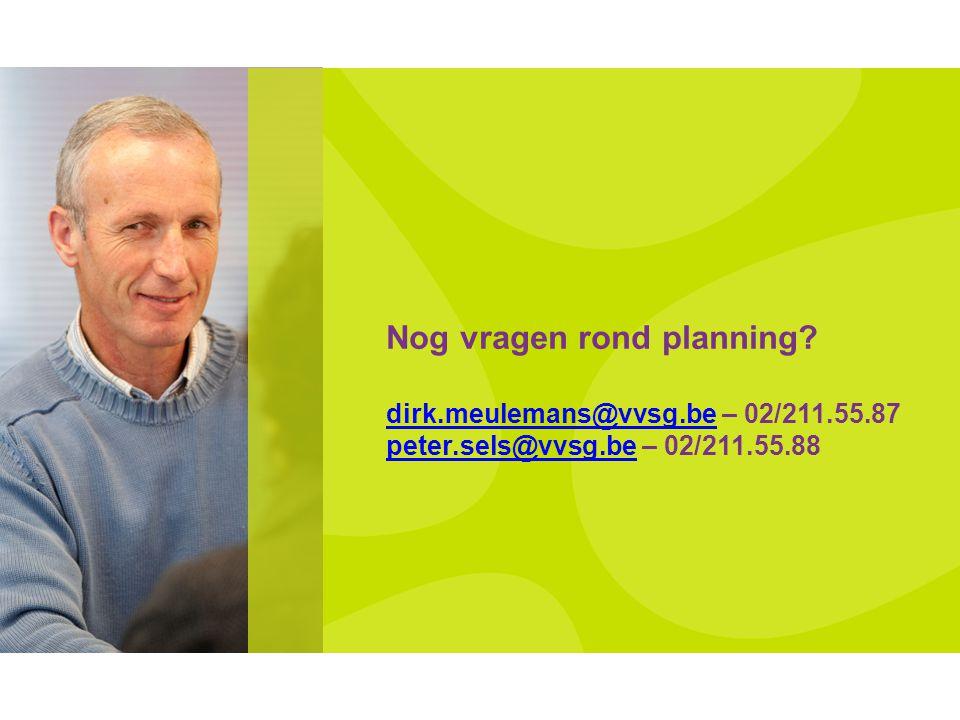 Nog vragen rond planning. dirk. meulemans@vvsg. be – 02/211. 55