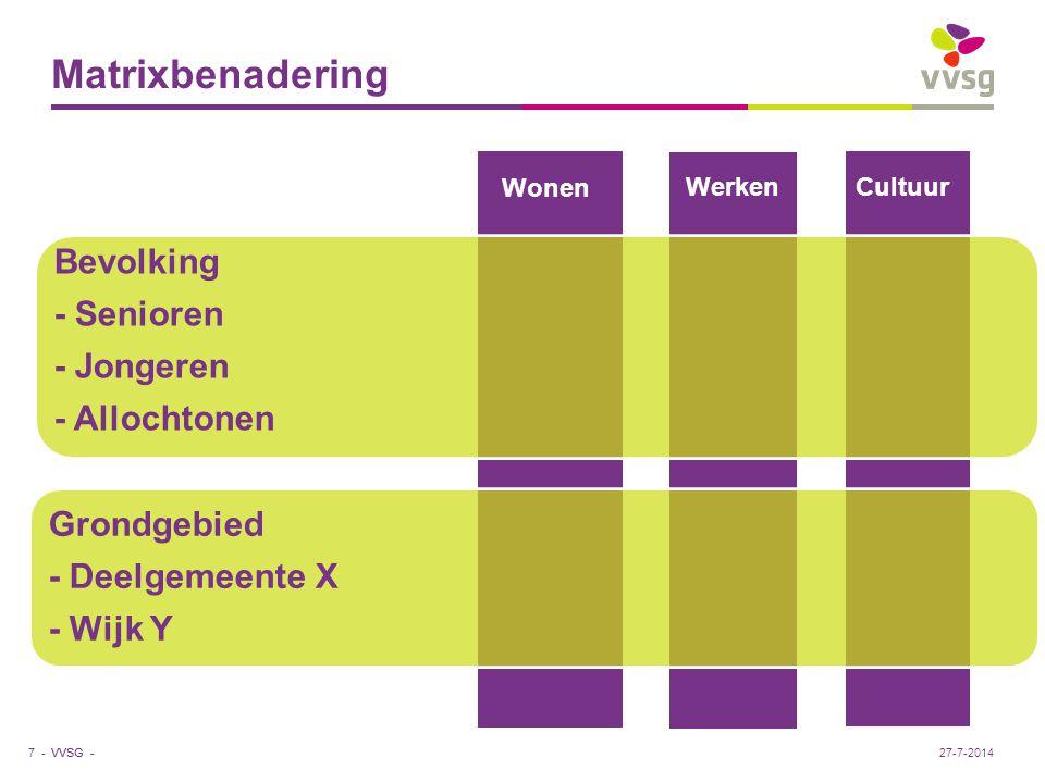 Matrixbenadering Bevolking - Senioren - Jongeren - Allochtonen