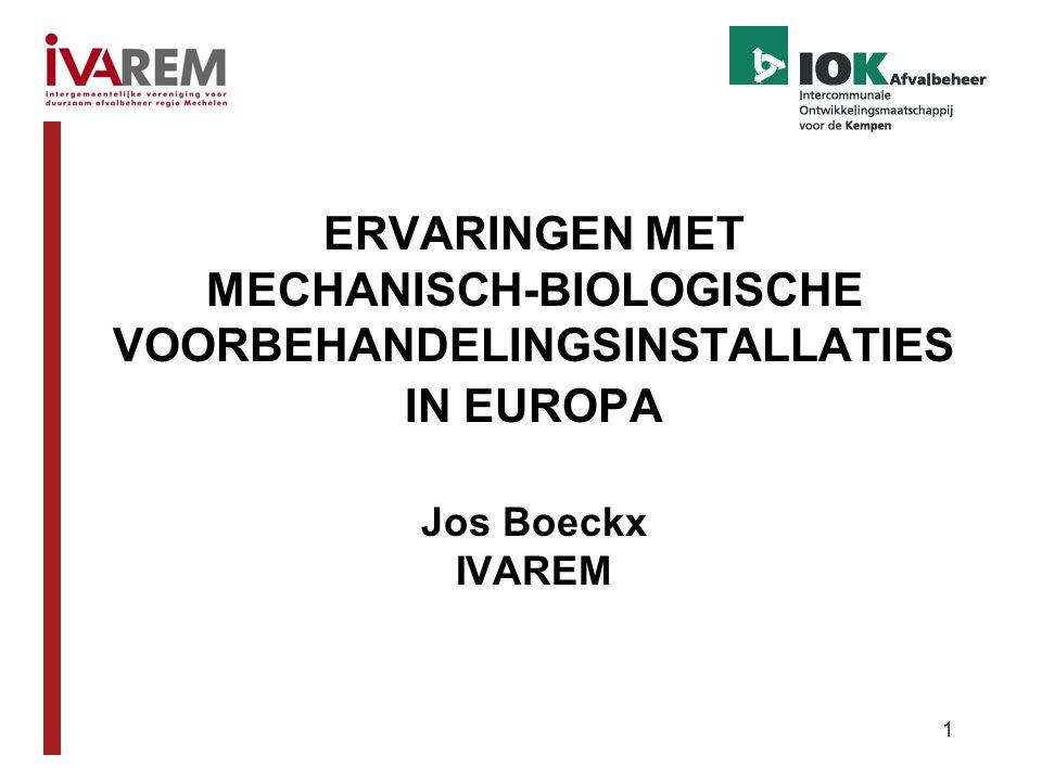 ERVARINGEN MET MECHANISCH-BIOLOGISCHE VOORBEHANDELINGSINSTALLATIES IN EUROPA Jos Boeckx IVAREM