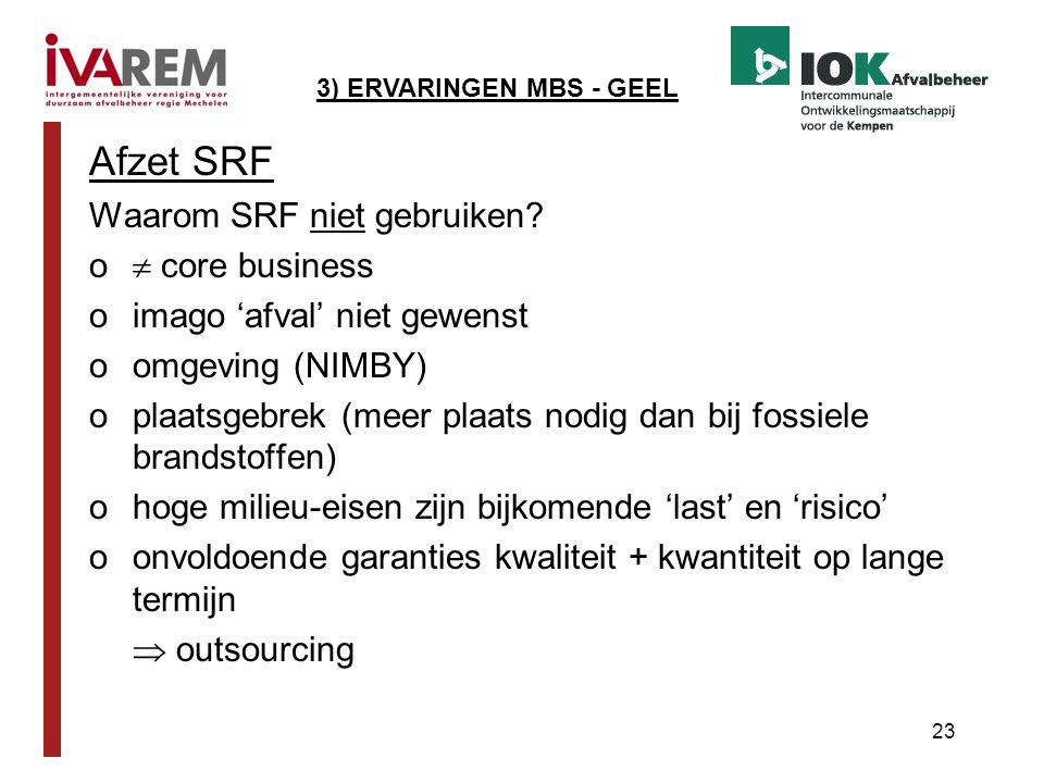 Afzet SRF Waarom SRF niet gebruiken  core business