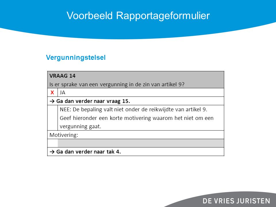 Voorbeeld Rapportageformulier