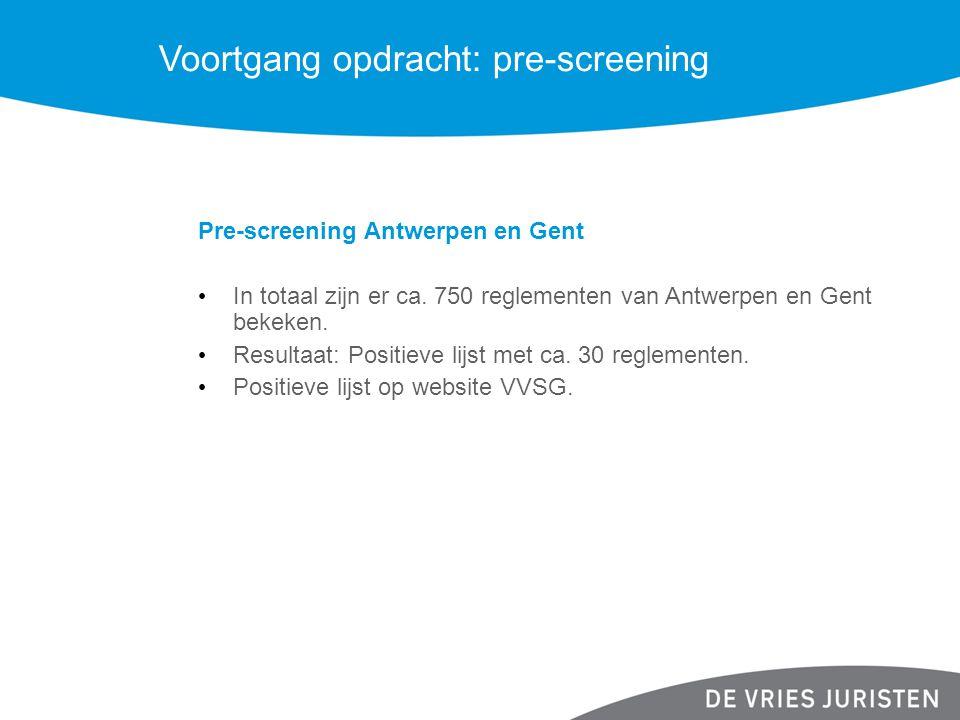 Voortgang opdracht: pre-screening