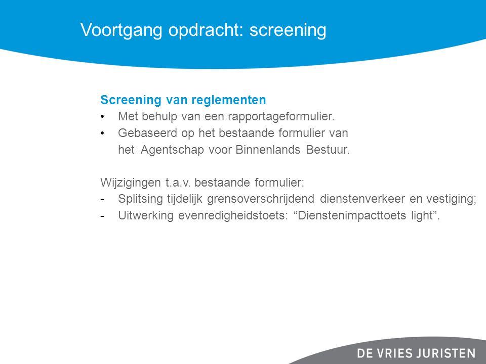 Voortgang opdracht: screening