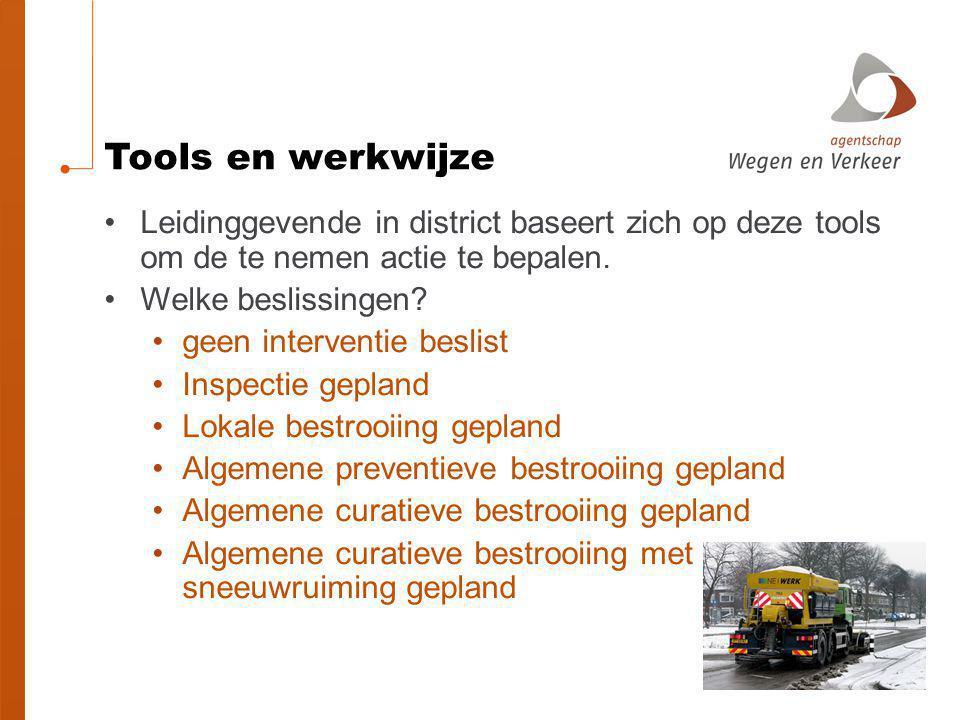 Tools en werkwijze Leidinggevende in district baseert zich op deze tools om de te nemen actie te bepalen.