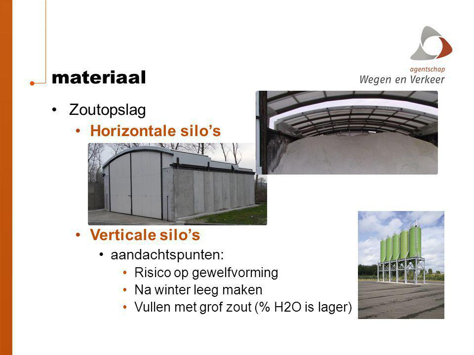 materiaal Zoutopslag Horizontale silo's Verticale silo's