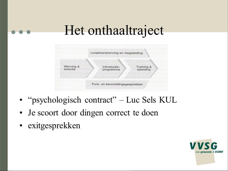 Het onthaaltraject psychologisch contract – Luc Sels KUL