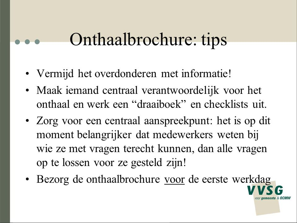 Onthaalbrochure: tips